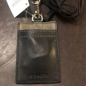 NWT Coach leather lanyard